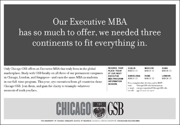 Our Executive MBA has so much to offer, we needed three continents to fit everything in. University of Chicago Booth School of Business